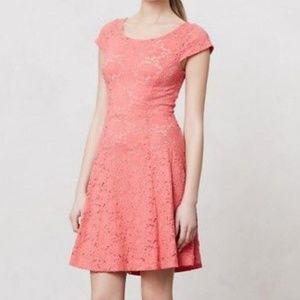 Anthropologie Maeve Coral eyelet lace dress